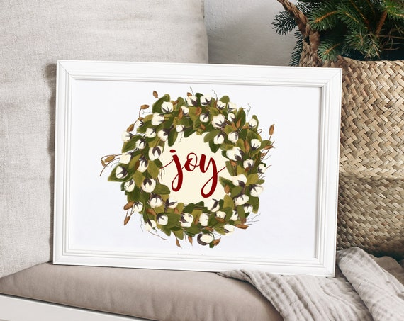 Christmas Joy Print, Christmas Decor, Christmas Print, Cotton Blossom Wreath, Teacher Gift, 5x7, 8x10