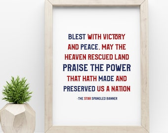 Star Spangled Banner Lyrics Digital Print 8x10, Quotes, Wall Print, Wall Decor, Printable, Home Decor, Fourth of July, Instant Download