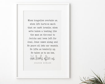 He Looks After Us Quote by Sharon Eubank, 5x7, 8x10, 11x14, 16x20, 24x36, Wall Print, LDS Quote, Christian Quotes