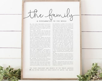 The Family Proclamation, The Church Of Jesus Christ of Latter-Day Saints, Beautiful Wall Print 5x7, 8x10, 11x14, 16x20, 24x36