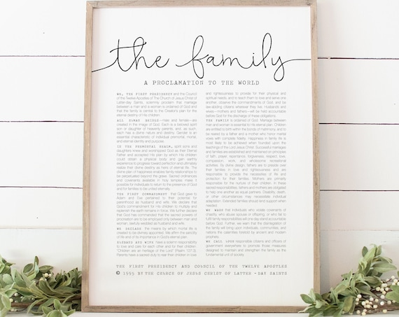 The Family Proclamation, The Church Of Jesus Christ of Latter-Day Saints, Beautiful Wall Print 5x7, 8x10, 11x14, 16x20, 24x36