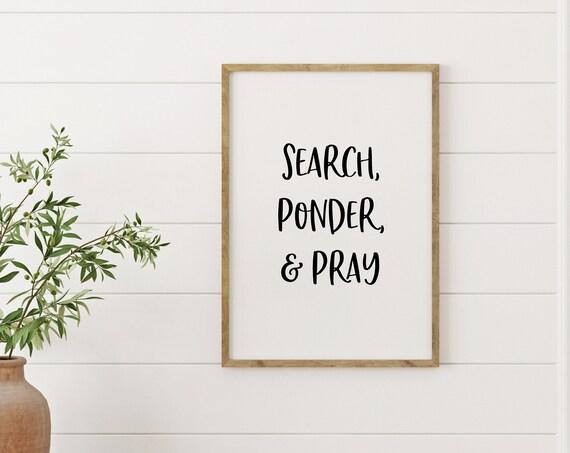Search, Ponder, and Pray, Children's Room Wall Print, 5x7, 8x10, 11x14, 16x20, 24x36