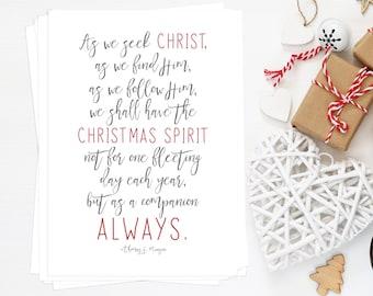 Christmas Spirit BULK Quantity 10 5x7's, Perfect for Neighbor or Teacher Gifts, Christmas, Thomas S. Monson Quote