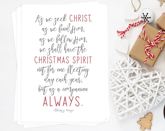 Christmas Spirit BULK Quantity 10 5x7's, Perfect for Neighbor or Teacher Gifts, Christmas, Thomas S. Monson Quote