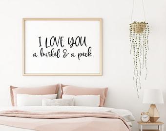I Love You A Bushel and a Peck 5x7, 8x10, 11x14 Wall Print, Baby Nursery, Kids Room Decor, Bedroom Decor