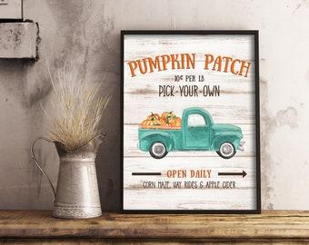 Pumpkin Patch Old Fashioned Truck Print  11x14, 8x10, 5x7, Farm House Decor, Fall Decor, Old Truck With Pumpkins, *Digital Download*