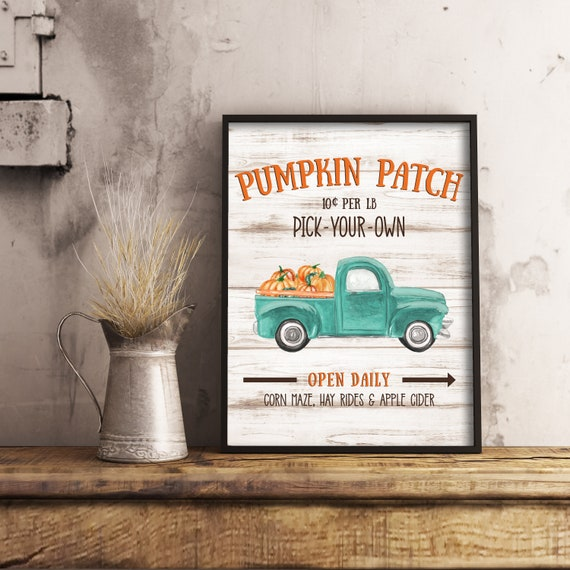 Pumpkin Patch Old Fashioned Truck Print  11x14, 8x10, 5x7, Farm House Decor, Fall Decor, Old Truck With Pumpkins, *Digital Download*