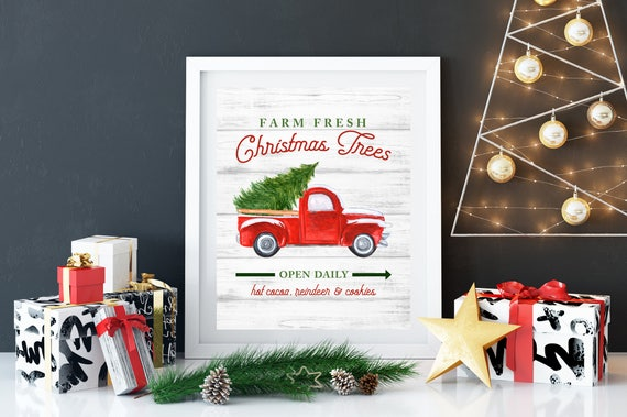 Farm Fresh Christmas Trees Printable 8x10, Digital Download, Christmas Decor, Christmas Tree, Old Fashion Truck
