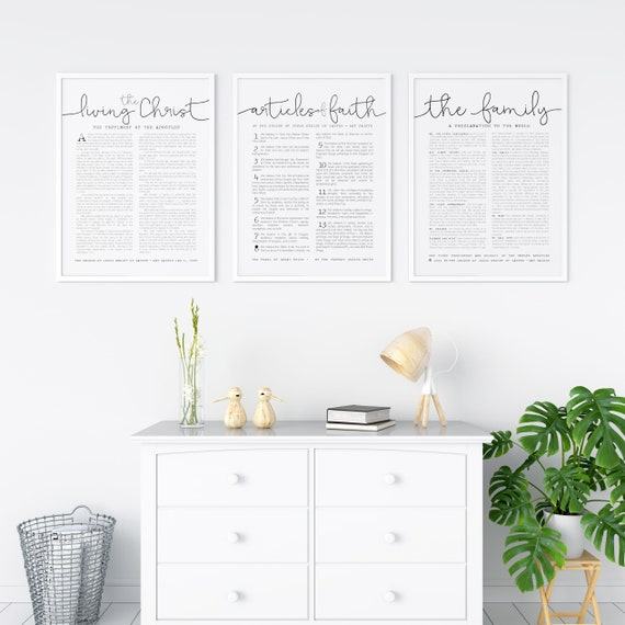 Gospel Trio Pack - The Living Christ, The Family Proclamation, The Articles of Faith on Premium Card Stock Paper The Church of Jesus Christ