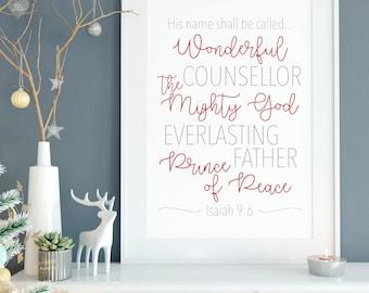 He Shall Be Called Print 11x14, 8x10 or 5x7, Christmas Decor, Christmas Print, Names of Jesus Christ, Bible Quote