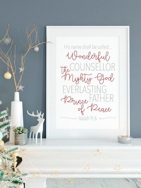 He Shall Be Called Print 11x14, 8x10 or 5x7, Christmas Decor, Christmas Print, Names of Jesus Christ, Isaiah, Physical Copy*