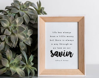 Lean On Our Savior, 11x14, 8x10, 5x7, Black and White Wall Decor, Wall Print, Home Decor, LDS Quote, Religious Decor