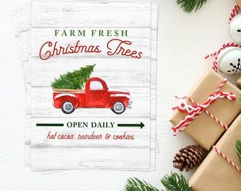Farm Fresh Christmas Trees BULK Quantity 10 5x7's, Perfect for Neighbor or Teacher Gifts, Christmas, Red Truck, Tree Farm Print
