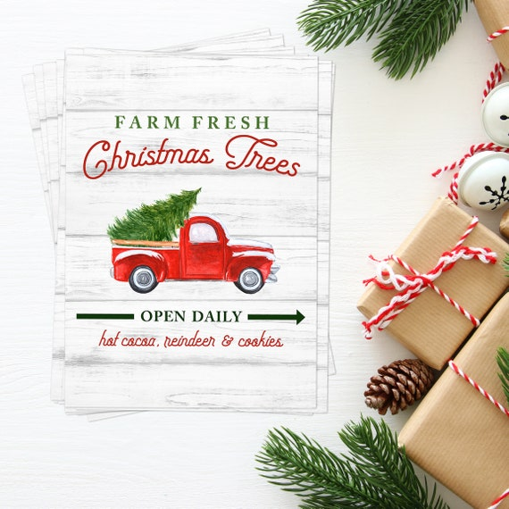 Farm Fresh Christmas Trees BULK Quantity 10 5x7's, Perfect for Neighbor or Teacher Gifts, Christmas, Red Truck, Tree Farm Print