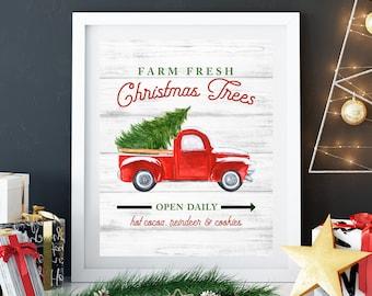 Farm Fresh Christmas Trees Print, 11x14, 8x10, 5x7, Farm House Decor, Christmas Decor, Old Truck With Tree, Tree Farm Hanging