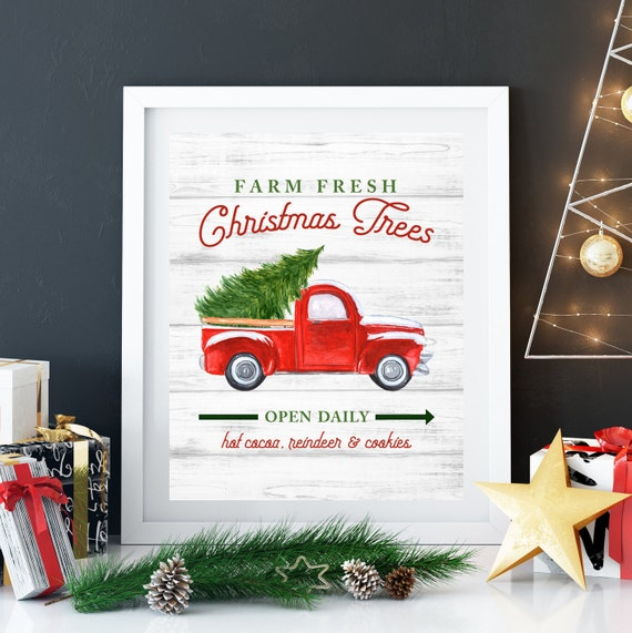 Farm Fresh Christmas Trees Print, 11x14, 8x10, 5x7, Farm House Decor, Christmas Decor, Old Truck With Tree, Tree Farm Hanging