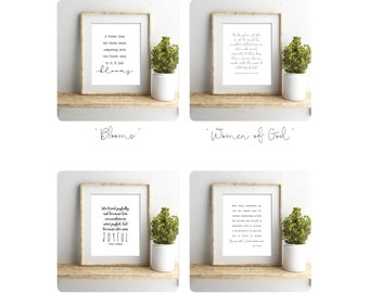 Christian Women Quote Prints, 4 pack, 5x7, 8x10, 11x14, 16x20 or 24x36, LDS Quotes