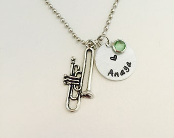 Musical Instrument hand stamped necklace, Trumpet necklace, Music instrument, Music Necklace, Trumpet Jewelry, Gift for Musician