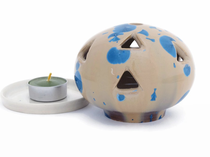 Small Ceramic Candle Holder for Tealights Blue and Amber image 0