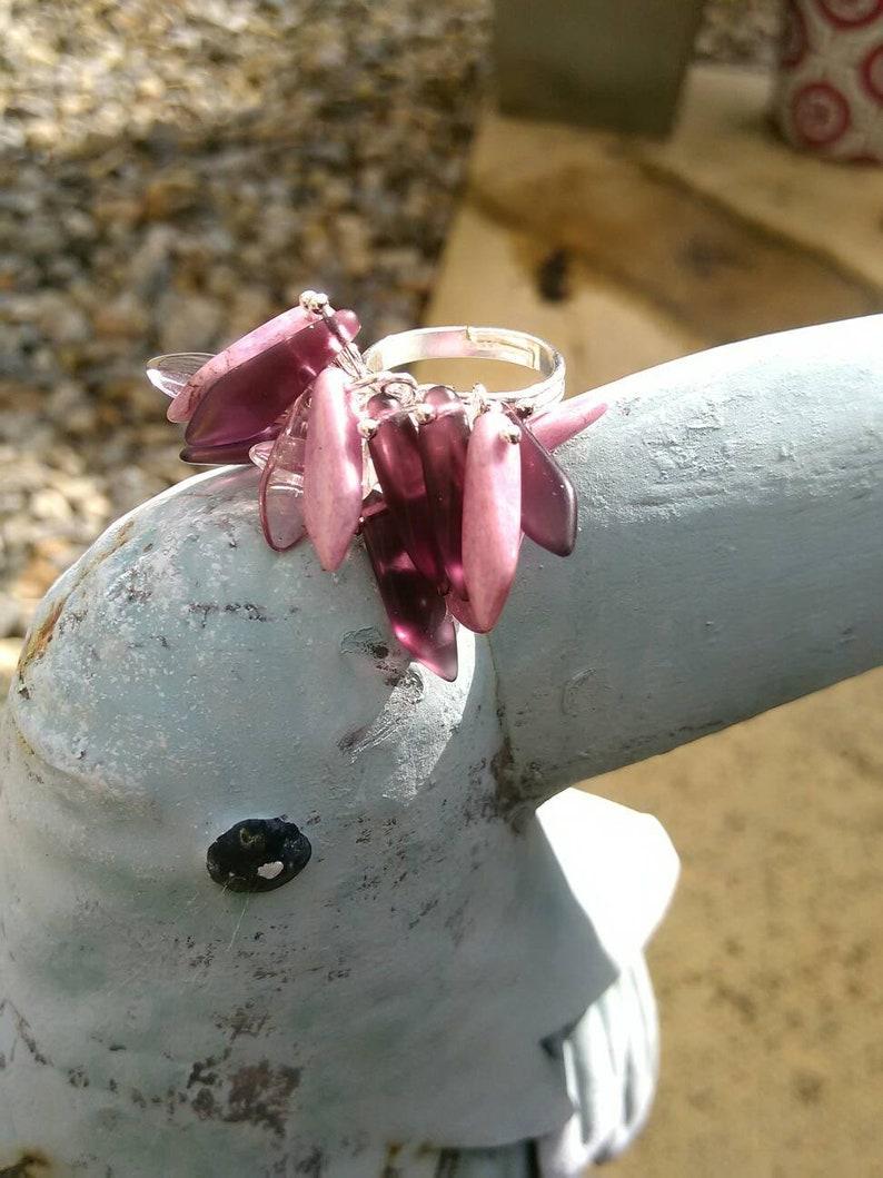 Dagger beaded silver metal ring
