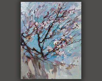 Flowering fruit tree Large oil painting Apricot blossoms Flower painting Impasto painting Pink white flowers Blooming trees art Gift for her