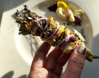 Healing Sage Bundles with California White Sage, Dried Lavender Flowers and Rose Petals