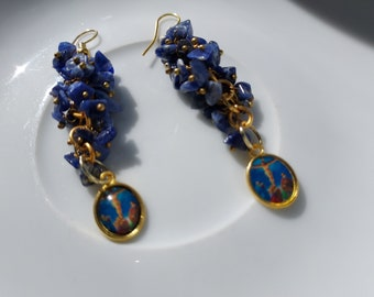 Sodalite Chip Bead GRAPE CLUSTER EARRINGS - Gold Plated with Jesus Pendants