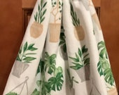 Double kitchen towel extra wide cotton terry lining flower pots green plants icrocheted green top Patten upside down other side