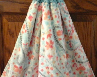 Double kitchen towel, extra wide cotton peach blue pink gray flowers Crocheted blue top pattern similar other side