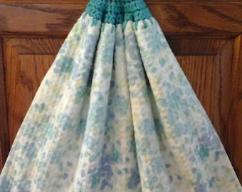 Double kitchen towel extra wide cotton waffle material teal green purple  flowers crocheated teal top pattern similar  other side