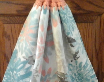 Double kitchen towel  extra wide terry lining peach gray teal flowers Crocheted peach top pattern similar other side