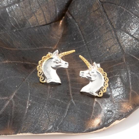 9ct Gold /& Sterling Silver Unicorn Stud Earrings