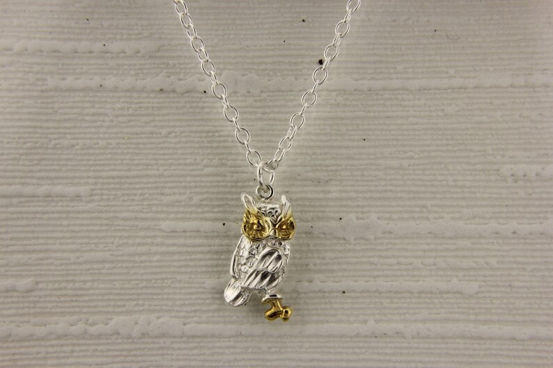 4890a3f15 Owl Pendant in 18ct Gold on Sterling Silver. | Etsy