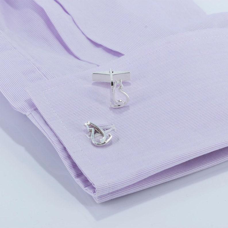 Turning Cat Cufflinks in Sterling Silver