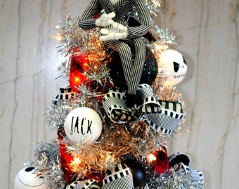 jack skellington nightmare before christmas tree lighted with custom jack ornaments and sewn tree skirt - Jack Skellington Christmas Decorations