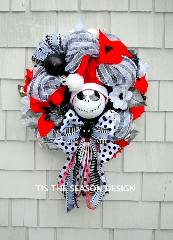 Nightmare Before Christmas Wreath Jack Skellington Wreath Etsy