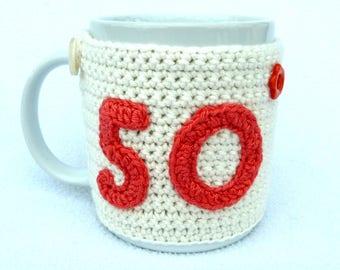 50th Birthday cream crochet mug cozy. Homewares, birthday gift, accessories, 50th birthday gift