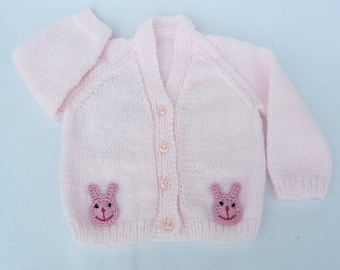 Hand knitted baby clothes. Knitted baby cardigan, pale pink baby sweater to fit 3 - 6 months. Baby girl clothes, baby shower, baby girl gift