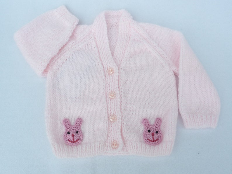 cdc3b4b39 Hand knitted baby clothes. Knitted baby cardigan, pale pink baby sweater to  fit 3 - 6 months. Baby girl clothes, baby shower, baby girl gift