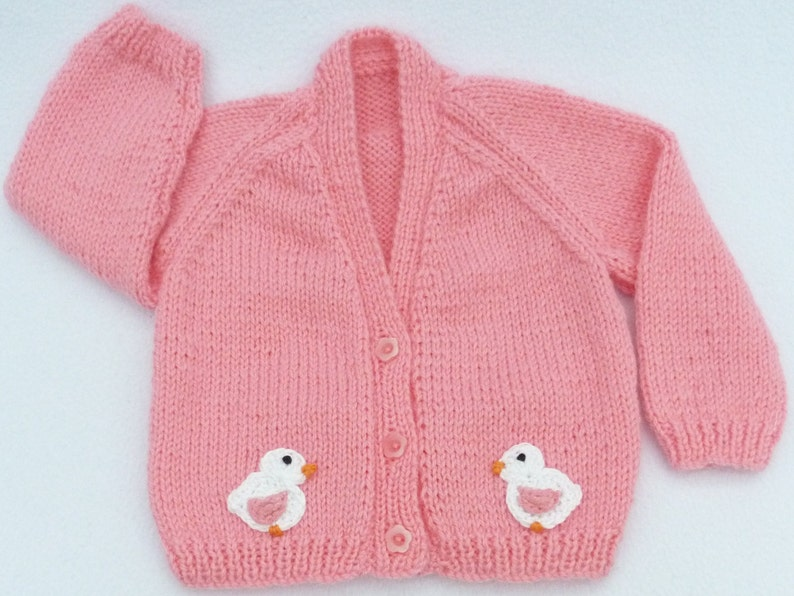 Hand knitted sugar pink baby cardigan 3 to  6 months Baby sweater
