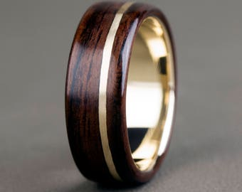 English Oak with 14K Offset Yellow Gold Inlay and Base