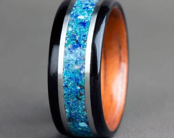 Ebony with Blue Stone Mix and 14K White Gold Accents
