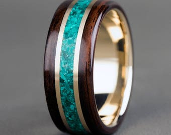 Ebony with Malachite and 14K Yellow Gold Accents and Base