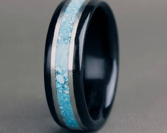 Ebony with Turquoise Inlay and 14K White Gold Accents