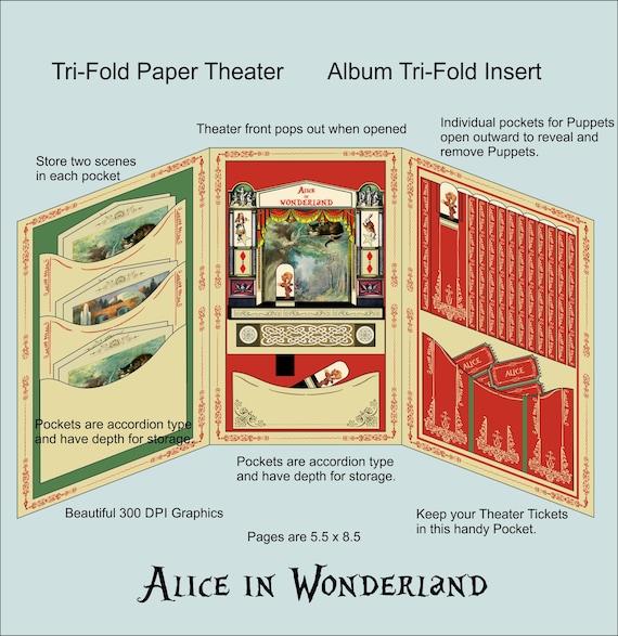 Tri Fold Alice In Wonderland Album Insert Tri Fold Alice Paper Etsy