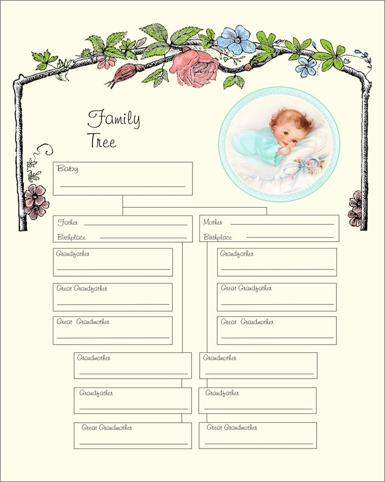 It's just a picture of Peaceful Family Tree Printout
