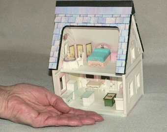 ON SALE  Limited Time Doll House, Miniature, A Printable Paper Dollhouse in Quarter Scale Instant Download,Mini Furniture