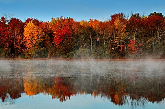 Autumn Morning On The Lake Fall Lake Nockamixon Bucks County Pennsylvania  Trees Autumn Leaves Print Photograph Canvas Wall Art