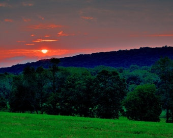 Country Sunrise Landscape Bucks County Trees Hills Dawn Early Morning Rural Countryside Canvas Print Wall Art