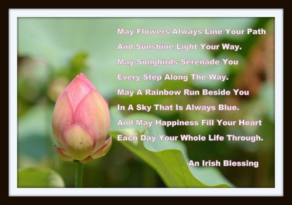 An irish blessing lotus flower irish prayer irish saying quote etsy an irish blessing lotus flower irish prayer irish saying quote poem poetry irish wisdom print photography canvas art mightylinksfo